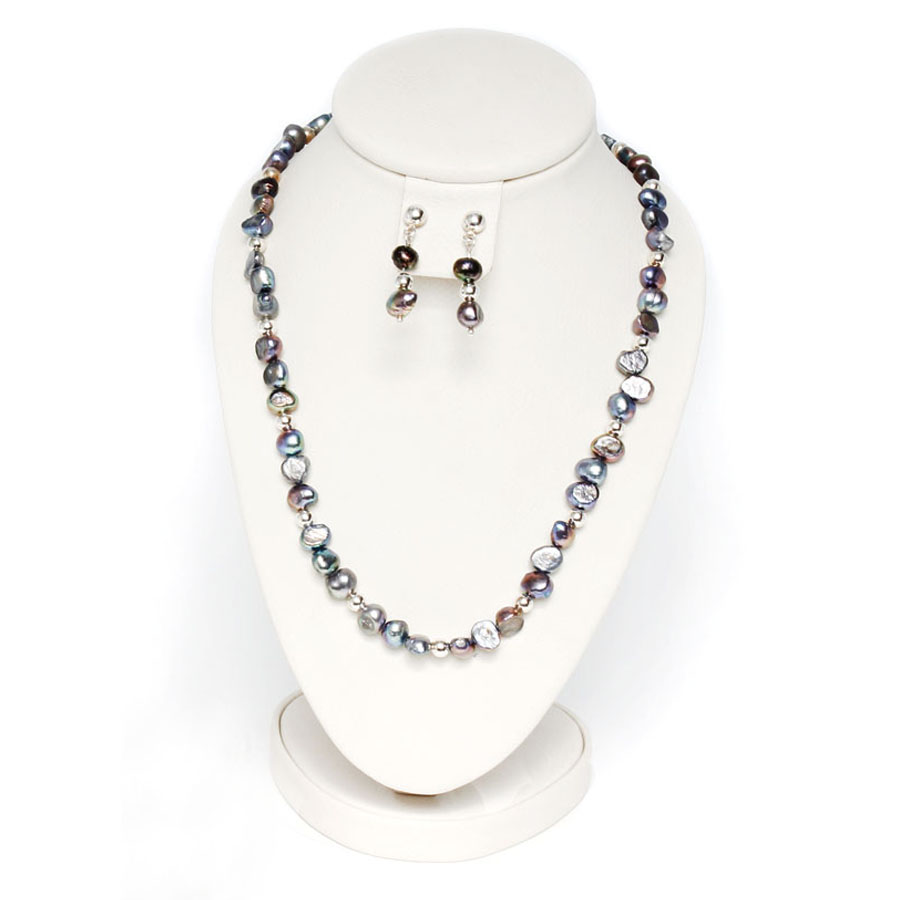 Jgo. Collar y Aretes de Perlas Barrocas Grises y Plata